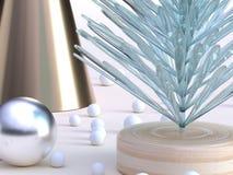 Sluit omhoog het geschotene groene duidelijke abstracte van de de decoratiewinter van de boom gouden kegel het jaarconcept nieuwe royalty-vrije illustratie