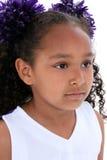 Sluit omhoog het Meisje van Zes Éénjarigen in Eenvormige Cheerleading royalty-vrije stock fotografie