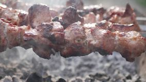 Sluit omhoog het roteren van de vleespennen De stukken die van het varkensvleesvlees op een grill worden gebraden Het braden gero stock video