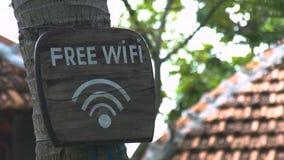 Sluit omhoog houten vrij wi van de tekeninschrijving FI op boomboomstam in de zomerpark Het vrije wi houten teken van FI op boom  stock videobeelden