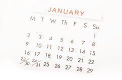 Sluit omhoog kalender voor Januari 2017 Royalty-vrije Stock Fotografie