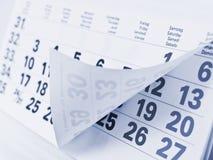 Sluit omhoog kalenderpagina Stock Foto