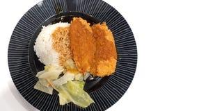 Sluit omhoog Kernachtig Fried Fish met Jasmine Rice en Gekookte die Groenten op Witte Achtergrond met Exemplaarruimte wordt geïso stock foto