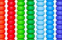 Sluit omhoog kleurrijk telraam, oud calculatorstuk speelgoed Royalty-vrije Stock Foto's