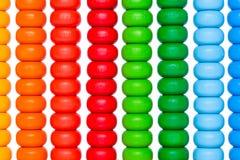 Sluit omhoog kleurrijk telraam, oud calculatorstuk speelgoed Stock Afbeeldingen