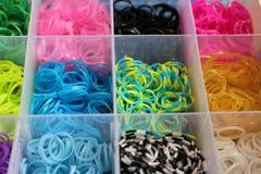 Sluit omhoog kleurrijk van weefgetouwbanden Stock Foto's