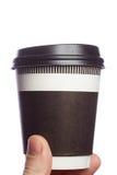 Sluit omhoog koffiekop ter beschikking op isolate achtergrond Royalty-vrije Stock Afbeelding