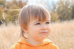 Sluit omhoog leuk portret van weinig nadenkende babyjongen die in de afstand op de herfstgebied staren royalty-vrije stock fotografie