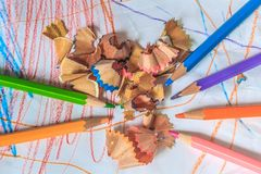 Sluit omhoog macro van de bonen die van het de stapelpotlood van het kleurenpotlood wordt geschoten Royalty-vrije Stock Fotografie