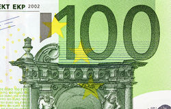 Sluit omhoog macrodetail van euro geldbankbiljetten Stock Fotografie
