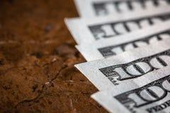 Sluit omhoog Macrogeld Amerikaanse Dollars met Ruimte royalty-vrije stock afbeelding