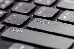 Sluit omhoog macrolaptop toetsenbord Stock Foto