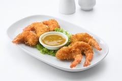 Sluit omhoog mening van aardige yummy tempuragarnalen royalty-vrije stock afbeelding