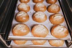 Sluit omhoog mening van brood afdwaalt klaar om in de oven te bakken Het concept van de bakkerij royalty-vrije stock afbeeldingen