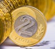 Sluit omhoog mening van de munt van Polen Royalty-vrije Stock Fotografie