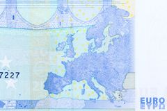 Sluit omhoog mening van 20 euro die rekening, macro van euro rekening 20 wordt geschoten Stock Foto