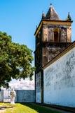 Sluit omhoog mening van Kathedraal Alto da Se, Olinda, Pernambuco, Brazilië stock afbeelding