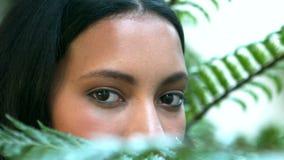 Sluit omhoog mening van mooie vrouwenogen stock video