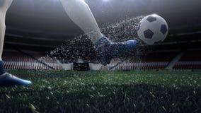 Sluit omhoog mening van voetbalbal en spelerbeen het schieten aan het doel in langzame motie stock footage