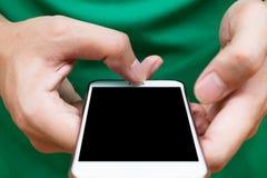 Sluit omhoog mensenhanden houdend smartphone Royalty-vrije Stock Fotografie