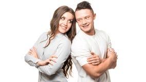 Sluit omhoog millennial paar in liefde Portret van een paar die een gelukkige toekomst plannen Rijtjes groepswerk royalty-vrije stock afbeeldingen