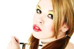 Sluit omhoog Mooie Vrouw Goth Stock Fotografie