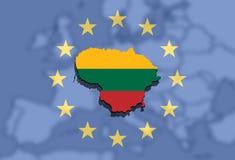 Sluit omhoog op de kaart van Litouwen op de Euro Unie en achtergrond van Europa Stock Fotografie