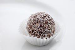 Sluit omhoog op een chocolade en kokosnotenrumbal op een witte plaat stock afbeelding