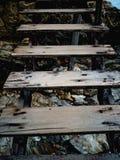 Sluit omhoog Oude Houten Ladder royalty-vrije stock afbeelding