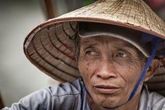 Sluit omhoog Portret o een Vietnamese mens stock afbeelding