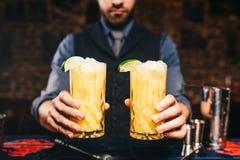 Sluit omhoog portret van barman of barman dienende dranken stock afbeeldingen