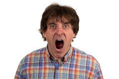 Sluit omhoog portret van de jonge mens die met open mond schreeuwen stock foto