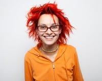 Sluit omhoog portret van een gek jong redheaded meisje Royalty-vrije Stock Fotografie