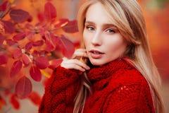 Sluit omhoog portret van een Mooi meisje dichtbij kleurrijke de herfstbladeren stock foto's