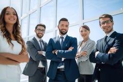 Sluit omhoog Portret van een succesvol commercieel team Royalty-vrije Stock Foto