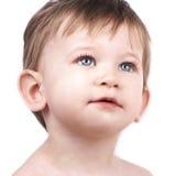 Sluit omhoog portret van leuk weinig jongen Stock Afbeeldingen