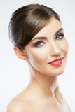 Sluit omhoog portret van mooi jong vrouwengezicht Stock Afbeeldingen