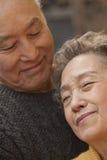 Sluit omhoog Portret van Romantisch Hoger Paar Royalty-vrije Stock Foto's