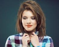 Sluit omhoog portret van tienermeisje Royalty-vrije Stock Fotografie