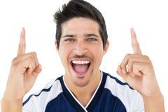 Sluit omhoog portret van voetbalster het toejuichen Royalty-vrije Stock Foto's