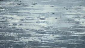 Sluit omhoog regendalingen op oppervlakte stock footage