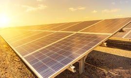 Sluit omhoog rijenserie van polycrystalline siliciumzonnecellen of photovoltaics in zonneelektrische centrale op zonsondergang Royalty-vrije Stock Afbeelding