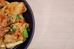 Sluit omhoog rijst met kimchi stock foto