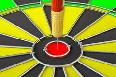 Sluit omhoog rode pijltjepijl op centrum van dartboard vector illustratie