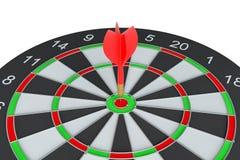 Sluit omhoog rode pijltjepijl op centrum van dartboard Royalty-vrije Stock Foto's