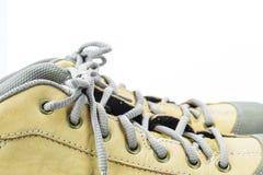 Sluit omhoog schoenveter van technieklaars Stock Foto's