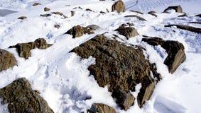 Sluit omhoog sneeuw en rots Royalty-vrije Stock Afbeeldingen
