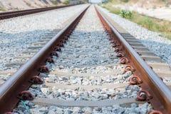 Sluit omhoog spoorverbinding, spooranker met perspectieflijn van spoorwegsporen Veiligheidsvervoer Vermijd opstopping stock afbeelding