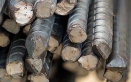 Sluit omhoog staalbar in bouwwerf royalty-vrije stock afbeelding