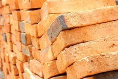 Sluit omhoog stapel van rode baksteen Stock Foto